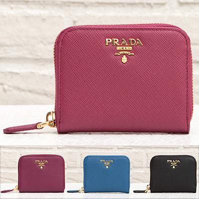 プラダ サフィアーノ コインケース アラウンドジップ ファスナー カード 小銭入れ ミニ財布 シンプル クリスマスプレゼント