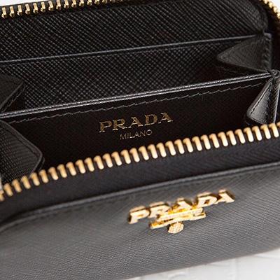 プラダ サフィアーノ コインケース アラウンドジップ ファスナー カード 小銭入れ ミニ財布 シンプル ブラック 黒