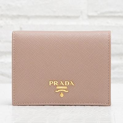 プラダ サフィアーノ 二つ折り財布 ミニ コンパクト カメオベージュ