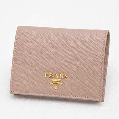 プラダ サフィアーノ 二つ折り財布 ミニ コンパクト カメオベージュ シンプル 上品