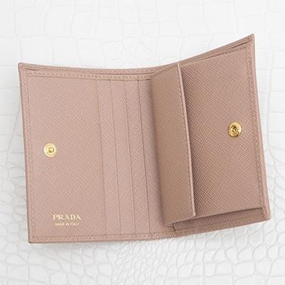 プラダ サフィアーノ 二つ折り財布 ミニ コンパクト カメオベージュ 小銭入れ カード入れ