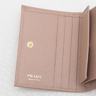 プラダ サフィアーノ 二つ折り財布 ミニ コンパクト カメオベージュ カード入れ