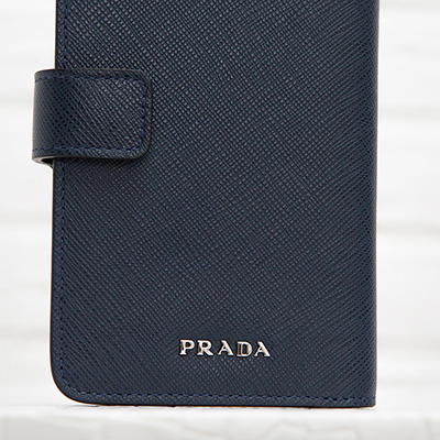 プラダ サフィアーノ iphone6/6sケース 手帳型 カード入れ付き ダークブルー メンズ ユニセックス シンプル