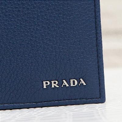 プラダ メンズ 二つ折り財布 ダークブルー ネイビー レザー 革財布