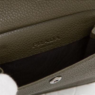 プラダ メンズ 二つ折り財布 ダークブルー ミリタリーグリーン 小銭入れ レザー 革財布