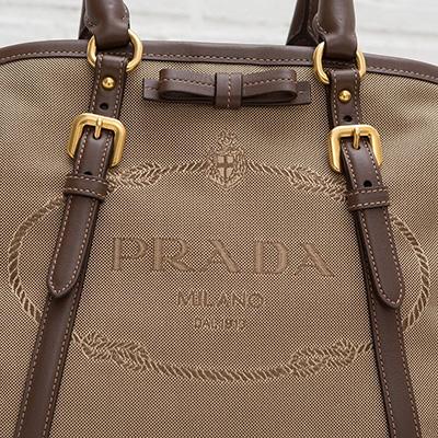 プラダ ロゴ・ジャカード 2wayトート ハンドバッグ リボンつき キャンバス ジャガード織り ショルダーストラップ ベージュ ブラウン