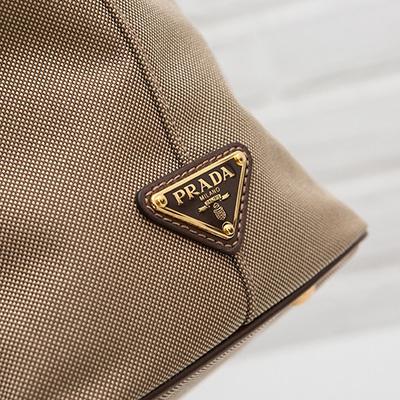 プラダ ロゴ・ジャカード 2wayトート ハンドバッグ リボンつき キャンバス ジャガード織り ショルダーストラップ ベージュ ブラウン トライアングル
