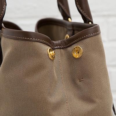 プラダ ロゴ・ジャカード 2wayトート ハンドバッグ リボンつき キャンバス ジャガード織り ショルダーストラップ ベージュ ブラウン マチ