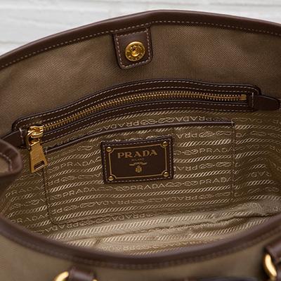 プラダ ロゴ・ジャカード 2wayトート ハンドバッグ リボンつき キャンバス ジャガード織り ショルダーストラップ ベージュ ブラウン 内ポケット
