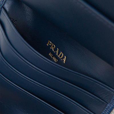 プラダ 二つ折り財布 ミニ コンパクト ヴィテッロ・ムーブ 上品 ダークブルー ネイビー