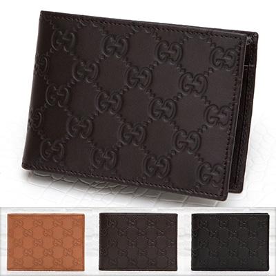 グッチ メンズ 二つ折り財布 グッチッシマ シマレザー GG柄 モノグラム ダークブラウン 茶色 ブラック 黒