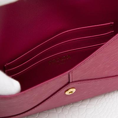 プラダ ヴィテッロ・ムーブ マルチケース カード ドキュメント ID お札入れ エンベロップ イビスコピンク カードポケット
