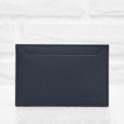 プラダ サフィアーノ カードケース メンズ 定期 ICカード入れ シンプル ダークブルー ネイビー
