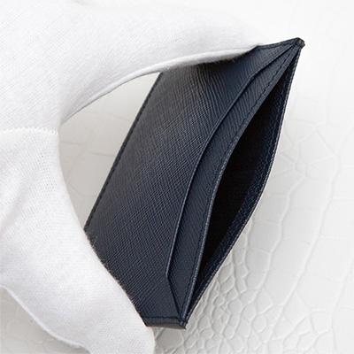 プラダ サフィアーノ カードケース メンズ 定期 ICカード入れ シンプル ダークブルー ネイビー ポケット