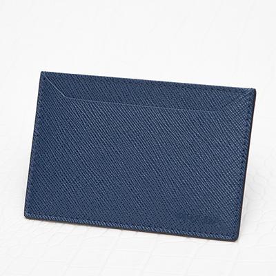 プラダ サフィアーノ カードケース メンズ 定期 ICカード入れ シンプル ダークブルー ネイビー マチなし