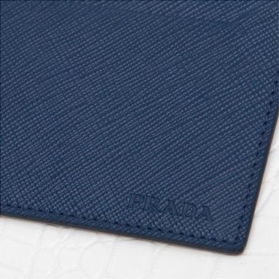 プラダ サフィアーノ カードケース メンズ 定期 ICカード入れ シンプル ダークブルー ネイビー ロゴ