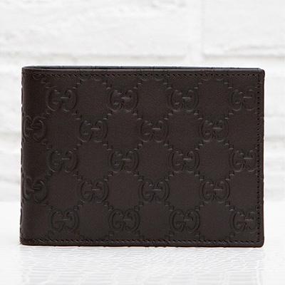 グッチ メンズ 二つ折り財布 グッチシマレザー GG柄 モノグラム 使いやすい 男性用 ダークブラウン 焦茶色