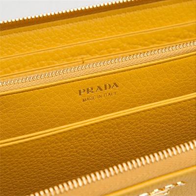 プラダ ヴィテッログレイン ラウンドジップ長財布 イエロー系 黄色 アラウンドファスナー レザー 金運 収納 大容量 箔押し