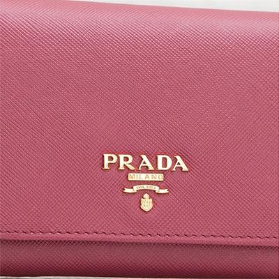 プラダ サフィアーノ 折りたたみ 三つ折り財布 コンパクト ピンク 小さめ ロゴ