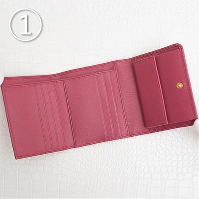 プラダ サフィアーノ 折りたたみ 三つ折り財布 コンパクト ピンク 小さめ カード入れ 小銭入れ ポケット 収納