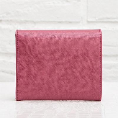 プラダ サフィアーノ 折りたたみ 三つ折り財布 コンパクト ピンク 小さめ
