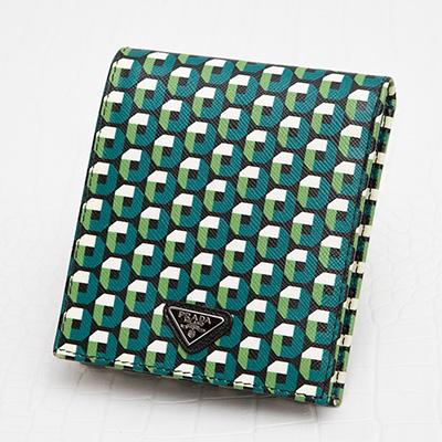 プラダ サフィアーノ 二つ折り財布 メンズ 男性 ジオメトリック柄 幾何学模様 グリーン系