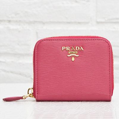 プラダ ヴィテッロ・ムーブ コインケース 小銭入れ アラウンドジップ ファスナー 使いやすい 可愛い ピオニーピンク カードも入る