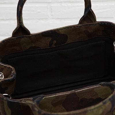 プラダ カナパトートバッグ Sサイズ カーキ系カモフラージュ 迷彩柄 ミニ 2WAY キャンバス