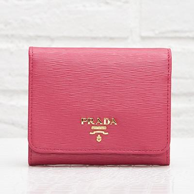 プラダ 三つ折り財布 折りたたみ ピオニーピンク コンパクト 可愛い 使いやすい ヴィテッロ・ムーブ