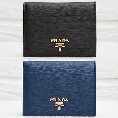 プラダ 二つ折り財布 ミニ コンパクト ヴィテッロ・ムーブ ダークブルー ネイビー ブラック 青 紺色 黒