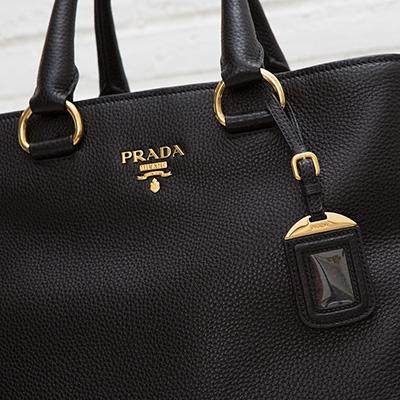 プラダ レザートートバッグ 2WAY A4が入る ミランダ・カー愛用モデル ブラック 黒 上品 シンプル 使いやすい 高級感