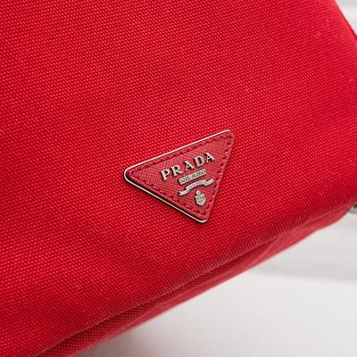 プラダ カナパトート 2WAYバッグ キャンバス Mサイズ レッド 赤色 ビジュー&スタッズ入り