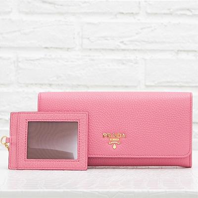プラダ 財布 長財布 スナップボタン カードホルダー ピンク