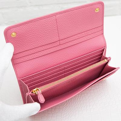 プラダ 長財布 スナップボタン カードホルダー ピンク 収納