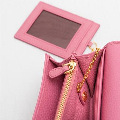 プラダ 長財布 スナップボタン IDカードホルダー ピンク