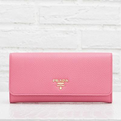 プラダ 長財布 スナップボタン カードホルダー ピンク