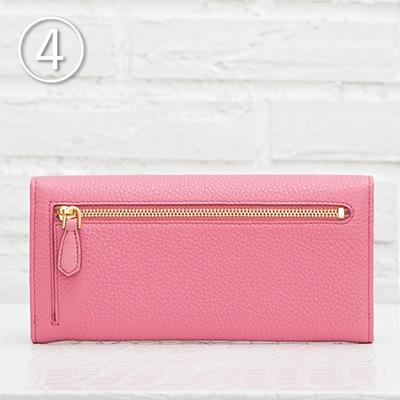 プラダ 長財布 スナップボタン カードホルダー ピンク 後 背面 ジッパーポケット