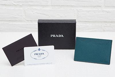 プラダ サフィアーノ メンズ カードケース 定期入れ パスケース ティールグリーン