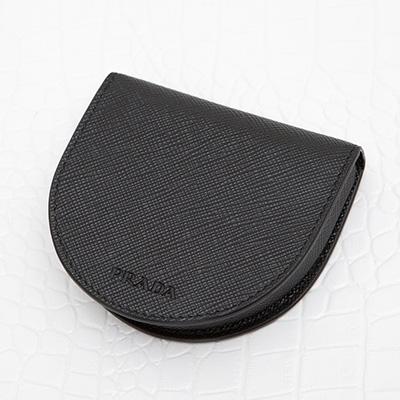 プラダ サフィアーノ コインケース 小銭入れ 馬蹄型 メンズ ブラック 黒