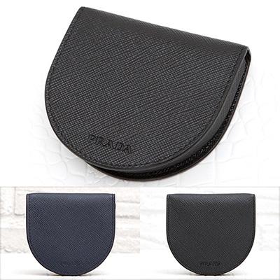 プラダ サフィアーノ コインケース 小銭入れ 馬蹄型 メンズ ブラック 黒 ネイビー 紺色