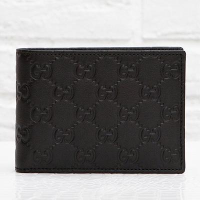 グッチ 財布 メンズ GG柄 黒 シマレザー