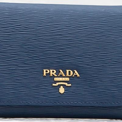 プラダ 財布 三つ折り ダークブルー