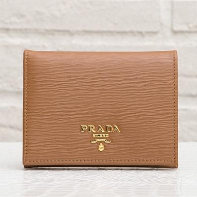 プラダ 財布 ブラウン 二つ折り ミニ財布