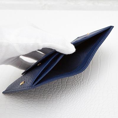 プラダ ミニ財布 二つ折り 財布 ダークブルー