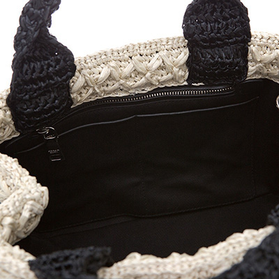 プラダ かごバッグ ラフィア トートバッグ バイカラー 白黒 ブラック