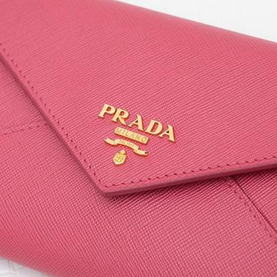 プラダ サフィアーノ 長財布 ピオニーピンク レター パスケース付き
