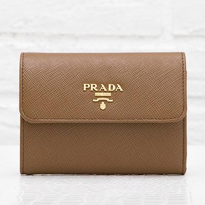 プラダ サフィアーノ 財布 三つ折り ブラウン 折りたたみ