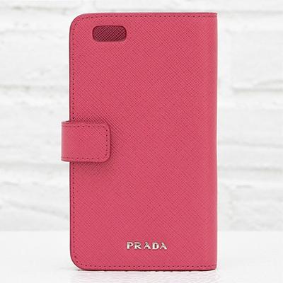 プラダ サフィアーノ iPhoneケース 6/6s対応 手帳型 ピオニーピンク