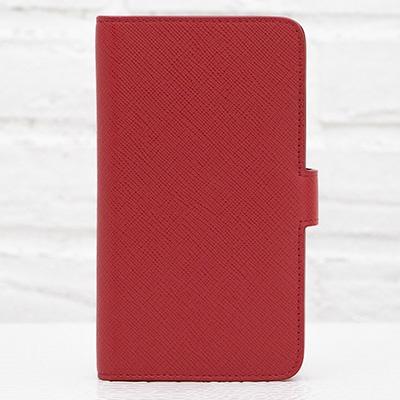 プラダ サフィアーノ iPhoneケース 6/6s対応 手帳型 レッド 赤