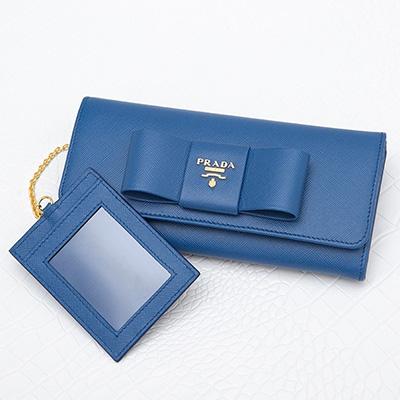 プラダ 財布 サフィアーノ 長財布 ブルー スナップボタン